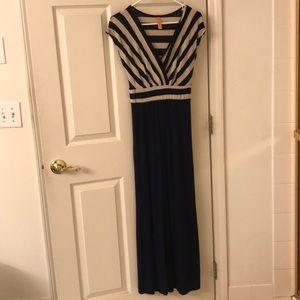 ModCloth Gilli Tan and Navy Maxi Dress